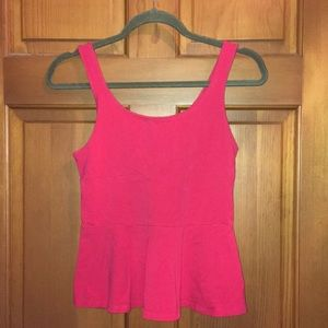 Express Bright pink peplum sleeveless top